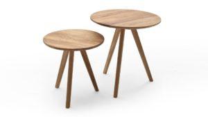 Couchtisch Sofatisch Beistelltisch 2er-Set Satztisch MCA Genny Gera Arteiche massivholz geölt 3-Fuß-Tisch
