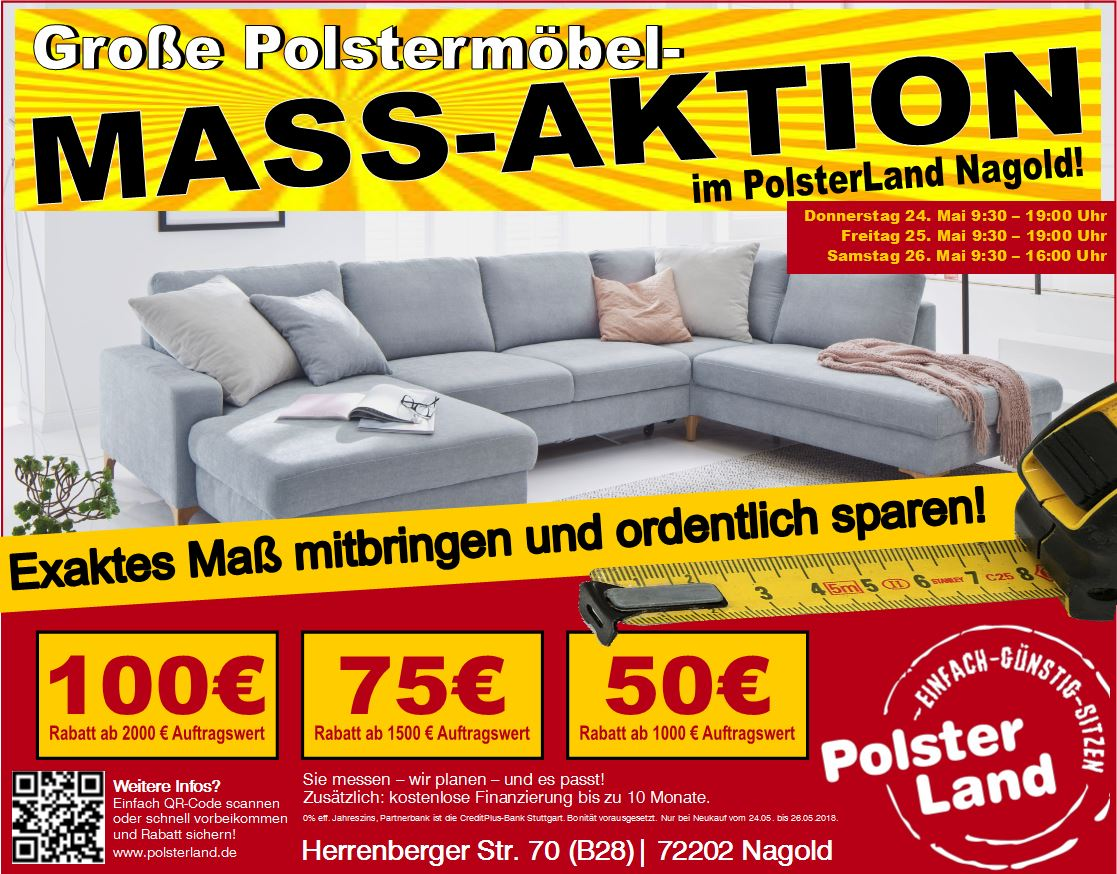 polsterland nagold ma aktion ma mitbringen und ordentlich sparen polsterland nagold schwab gmbh. Black Bedroom Furniture Sets. Home Design Ideas