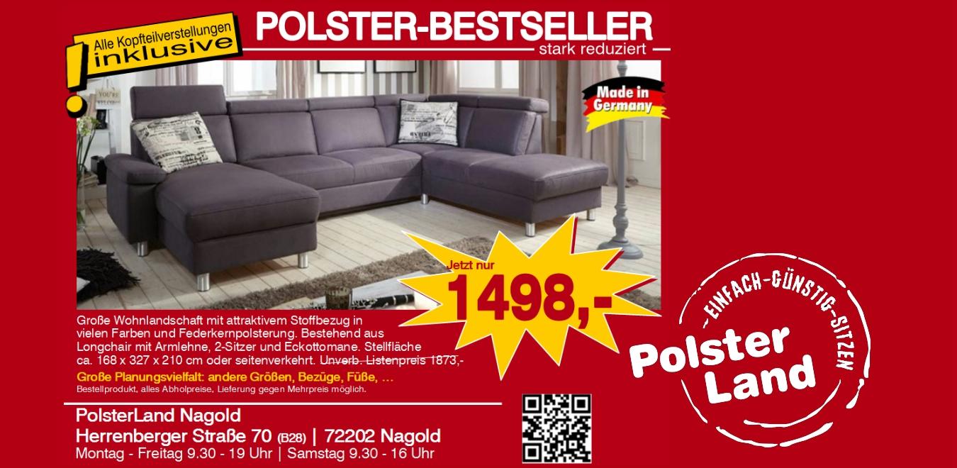 Polsterland Nagold Polstergruppe Wohnlandschaft U Form Mailand