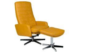 Duo-Collection Barrie Drehbarer Relaxsesse Ruhesessel TV-Sessel mit Hocker und Relaxfunktion manuell Kunstleder senf gelb ocker chromfuß