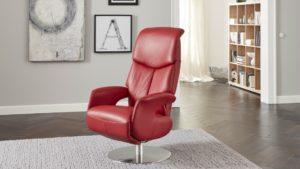 Relaxsessel Knudsen 5867 Samira Echtlederbezug rot manuell verstellbar drehbar